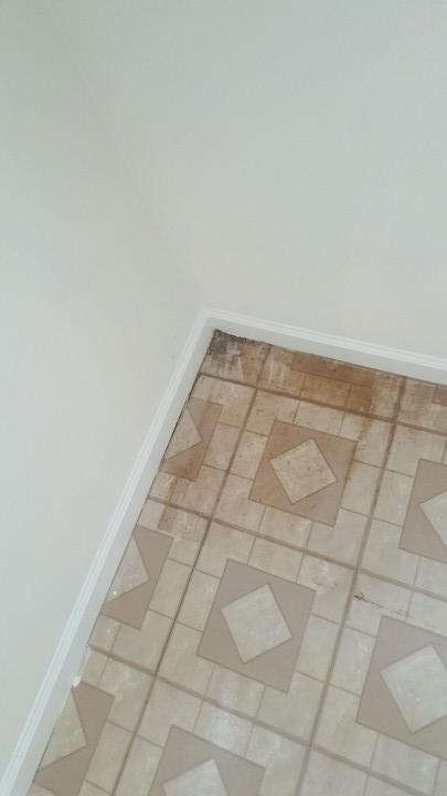 Before Linoleum floor cleaning
